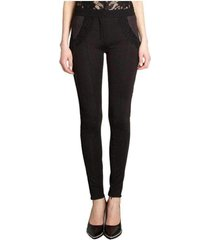 black lace trim wool leggings trousers
