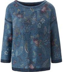 trui met ronde hals en 3/4-mouwen van betty barclay blauw