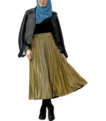 urban modesty women's metallic pleated midi skirt