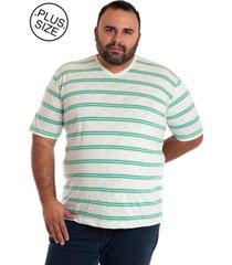 camiseta konciny decote v plus size bege