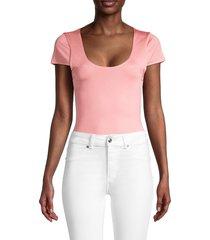alice + olivia by stacey bendet women's short-sleeve bodysuit - pink - size s