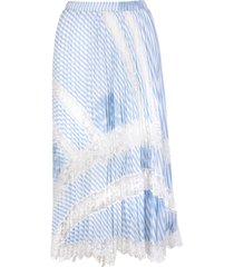ermanno scervino light blue pleated skirt with lace inserts
