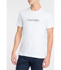 camiseta slim básica flamê calvin klein - branco - ggg