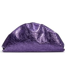 bottega veneta the pouch wrinkled metallic leather clutch - purple