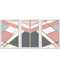 conjunto kit 3 quadro oppen house s 60x120cm escandinavo visby com vidro e moldura branca      quadro oppen house s decorativos - branco - dafiti