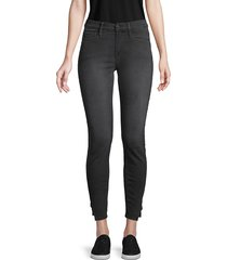 frame denim women's le skinny side-split coated jeans - black - size 26 (2-4)