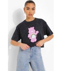 acid wash gebleekt kortgelicenseerd troetelbeertjes t-shirt, black