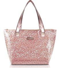 bolsa shopper transparente jacki design diamantes rosa