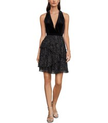 bcbgmaxazria velvet & pleated tulle dress