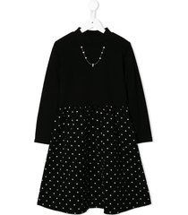 familiar jersey and corduroy dress - black