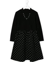 familiar jersey and corduroy dress - black