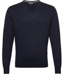 cotton wool v neck stickad tröja v-krage blå hackett london