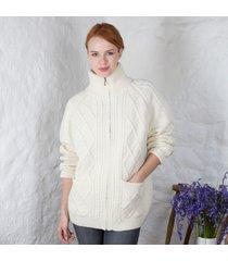 women's aran zipper cardigan cream medium