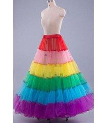 rainbow long petticoat crinoline underskirt hoop bridal wedding dress skirt slip