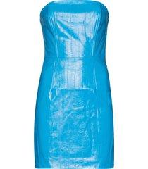 rotate herla vegan leather mini dress - blue