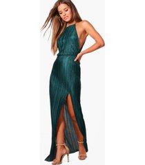 petite pleated thigh split maxi dress, green