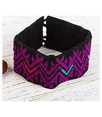 hand woven cotton wristband bracelet, 'boldly bohemian' (mexico)