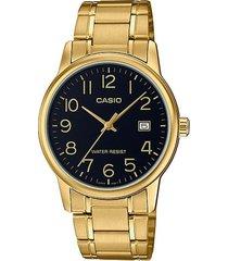reloj casio mtp_v002g_1b dorado acero inoxidable