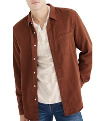 men's madewell flannel sunday shirt, size x-large - brown