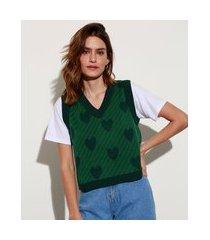 colete de tricô listrado com corações decote v mindset verde escuro
