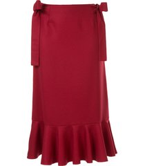 sueundercover bow detail midi skirt - red