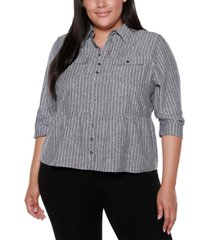 belldini black label plus size striped button up peplum top with pockets