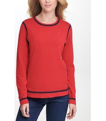 tommy hilfiger women's essential tipped sweater scarlet/ sky captain - xs