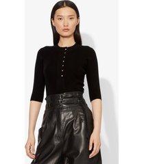 proenza schouler silk cashmere elbow sleeve knit henley black m