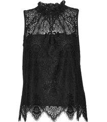 3164 - raya f blouse mouwloos zwart sand