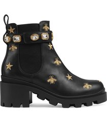 gucci embroidered leather ankle boot with belt - black