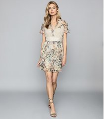 reiss sadie - floral printed mini dress in neutral, womens, size 14