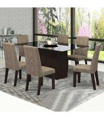 mesa de jantar 6 lugares zouk com vidro preto 11562 ameixa/malta - mobilarte móveis