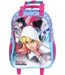 mochila escolar infantil dmw estampa rising secret warriors com rodinhas