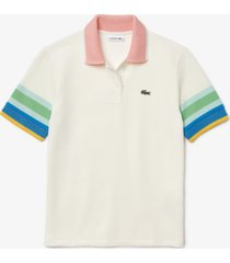 lacoste striped-sleeve textured polo shirt