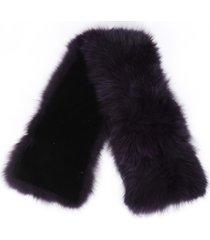 adrienne landau purple fox fur stole scarf purple sz:
