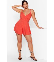 womens dance with v ribbed plus romper - tomato