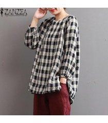 zanzea blusa de camisa a cuadros de algodón a cuadros para mujer blusa de gran tamaño negro rojo -negro