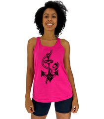 regata feminina alto conceito ã'ncora com peixe rosa pink - pink/rosa - feminino - algodã£o - dafiti