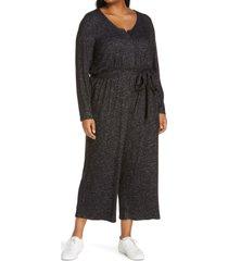 plus size women's bobeau brushed tie waist sweater jumpsuit, size 1x - black