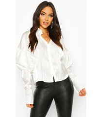 balloon oversized shimmer shirt, white