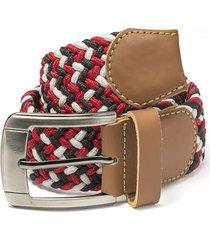 cinturón trenzado combinado rojo, negro y blanco doshka
