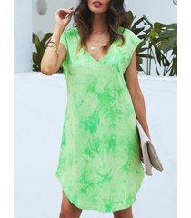 yoins mangas casquillo con efecto tie dye verde con cuello en v vestido