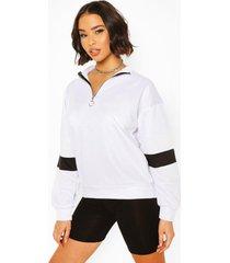 colour block sleeve zip neck crop sweatshirt, white