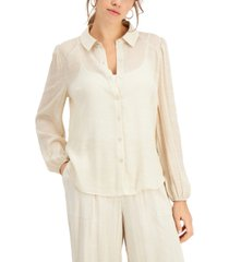 palette gauze button-front shirt