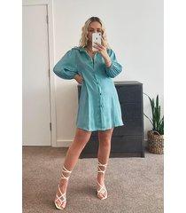 metallic blouse jurk met lange mouwen, turquoise