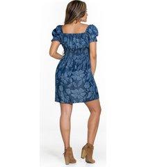 vestido corto en tencel con estampado láser