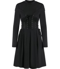 long sleeve lace-up casual pleated gothic dress