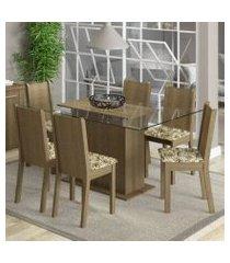 conjunto sala de jantar madesa molly mesa tampo de vidro com 6 cadeiras rustic/lírio bege