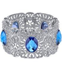 2028 silver-tone sapphire blue color wide filigree stretch bracelet
