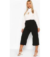 plus high waist culottes, black